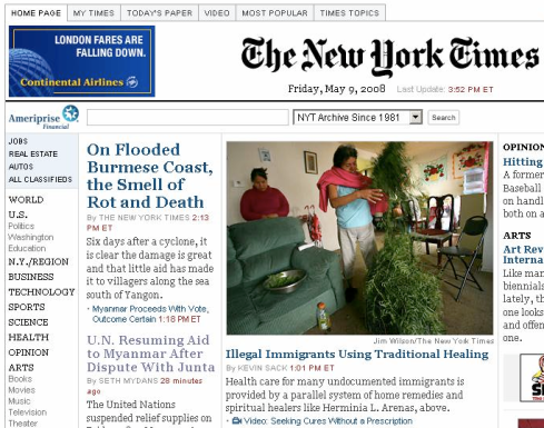 NYT.com Front Page, May 9