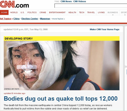 CNN.com Front Page, May 13