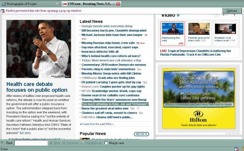 The front page of CNN, August 17, 2009 around 3pm
