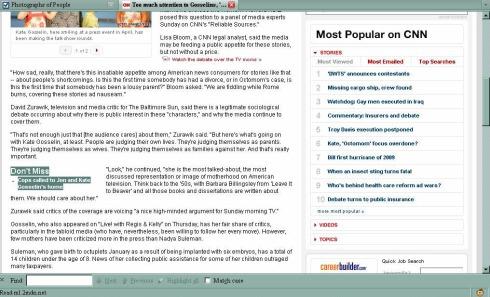 CNN.com screenshot, August 17, 2009, about 3pm